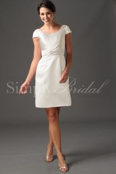 Wedding Dress by SimplyBridal. The beautiful satin and charmeuse Becky gown has a smooth and chic sheath silhouette. Short sleeves and a scoop-neck highlight the bodice, while pleats along the waist flatter the figure. The skirt is a simple construction, sophisticated and clean, while . USD $99.99