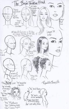 Fashion Design Drawing Fashion Face and Head Worksheet I drew for my students at FIT -Renaldo Barnette Fashion Design Sketchbook, Fashion Design Drawings, Fashion Sketches, Fashion Figure Drawing, Drawing Fashion, Fashion Illustration Face, Fashion Illustration Template, Fashion Sketch Template, Fashion Illustrations
