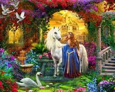 Unicorn Jigsaw Puzzles make fantastic gifts for anyone who loves fantasy art.You'll find a Great selection of unicorn jigsaw puzzles for all ages. Fantasy Kunst, Fantasy Art, Fine Art Amerika, Unicorn And Fairies, Unicorn Fantasy, Unicorn Wall Art, Unicorn Bedroom, Unicorn Pictures, Cross Paintings