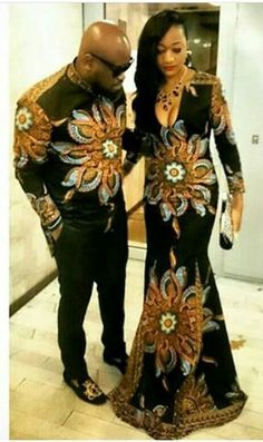 En couple Couples African Outfits, Couple Outfits, African Attire, African Wear, African Women, African Style, African Print Dresses, African Fashion Dresses, African Dress