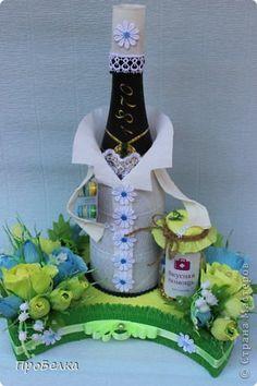 Декор предметов Свит-дизайн День рождения Бумагопластика Фармацевт и Стоматолог Ко дню медика Бумага гофрированная Бутылки стеклянные фото 1