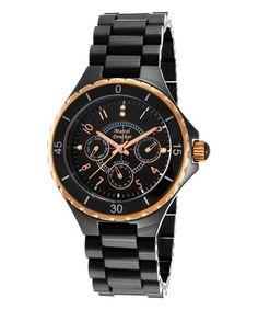 Look at this #zulilyfind! Black & Rose Goldtone Diamond-Accented Chronograph Watch #zulilyfinds