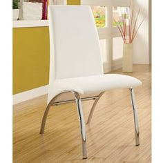 nice Triana Contemporary White Finish Dining Chairs (Set of 2)