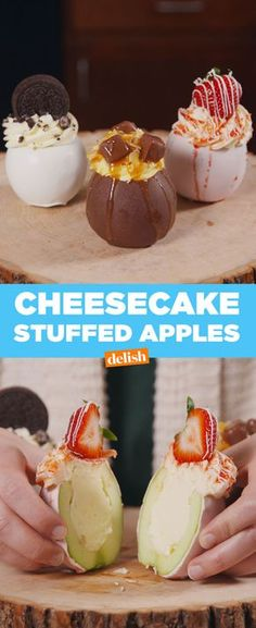 This Incredible Chocolate-Covered Apple Is Stuffed With Cheesecake(Creative Baking Recipes) Köstliche Desserts, Delicious Desserts, Dessert Recipes, Yummy Food, Healthy Food, Dessert Food, Health Desserts, Dollhouse Food, Gourmet Candy Apples