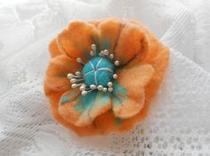 Brooch flower peach turquoise felted flower by FashionFeltProducts