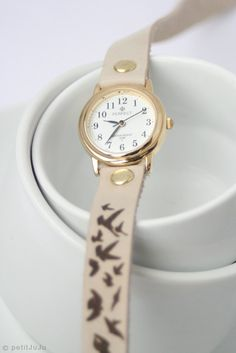 Free Shipping - beige milky leather bracelet wrap around wrist with engraved lock of birds flying birds with gold watch face