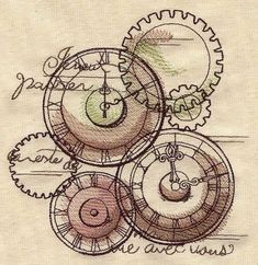 EMBROIDERY DESIGNS :: Parisian Clockwork image by #urbanthreads for 3-7 bucks