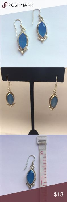 925 Sterling Silver Blue Chalcedony drop earrings NEW never been worn Sterling Silver (stamped 925) blue Chalcedony earrings.  These are genuine gemstones that would generally retail for $40 and up! Can be worn with jeans and a t-shirt or dressed up you favorite dress! They will come packaged in a nice pouch for safe keeping! Jewelry Earrings