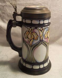 Gerz Stoneware Lidded Beer Stein Mug Vintage Germany Tiffany Art LE 633 / 8000