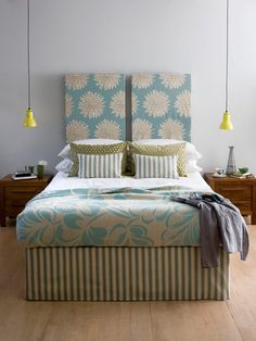 Canvas Covered Headboard.  I would fill it with batting so I could lean against it to read - great idea and cheapest way to go - get some great fabric