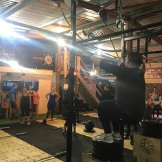 Great days coaching @edc_crossfit the class was mainly about over coming 'the' fear.  I had the pleasure to watch members zone out of everything else going on around them and take time to compose themselves to achieve a Jumping Bar MU!  Here's @katejayhenry finishing up the WOD  Today's WOD wind down ready for 17.1   5 Rounds 9 OHS 35/25 6 Over Bar Burpees  3 Bar Muscle Up