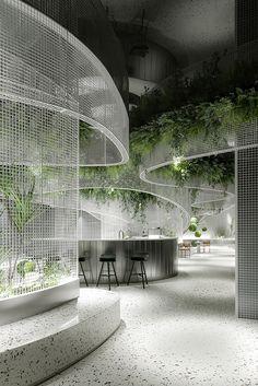 Cafe Interior Design, Cafe Design, Interior Exterior, Store Design, House Design, Sustainable Architecture, Interior Architecture, Hotel Room Design, Outdoor Restaurant