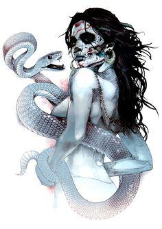 "Hoodoo Magick Rootwork: ""Voodoo Priestess,"" illustration by Kent Floris. Art And Illustration, Illustrations, Fantasy Kunst, Fantasy Art, Voodoo Priestess, Voodoo Hoodoo, Graffiti, Snake Art, Drawn Art"
