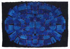 blue and black Scandinavian rya in a modern design. Rya Rug, Rug Hooking, Scandinavian, Modern Design, Rugs, 1970s, Indigo, Fiber, Dining Room