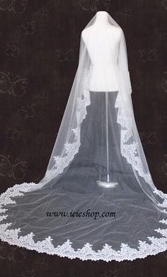 Wedding Dress Accessories - Veil Ivory Mantilla Ieie Ivory Cathedral Length Lace Edge Mantilla Veil  $100 USD - New With Tags