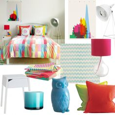 Bright candy-coloured bedroom