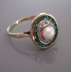 Antique DIAMOND EMERALD PEARL Gold Edwardian Art Deco Ring from antiquejewelryexpo on Ruby Lane