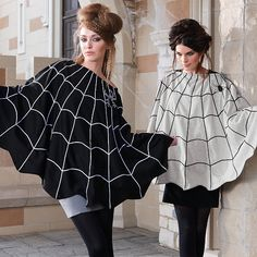 Spider Web Poncho - Add black hat and birdcage veil with large spider on top!