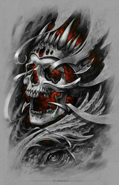 Creepe skull king red colour tattoo design