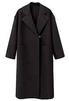 9de6be36eaf7b Zantt Women Winter Lapel One Button Pockets Open Front Outwear Parka Trench  Coat Black XS Best