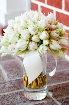 white tulips and white parrot tulips.....pretty for a spring wedding