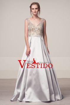 2017 abierto atractivo Volver vestidos de baile Una línea de cuello en V con los granos del satén