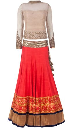 Coral and rust raw silk embroidered lehenga set by MANISH MALHOTRA. Shop at http://www.perniaspopupshop.com/whats-new/manish-malhotra-coral-and-rust-raw-silk-embroidered-lehenga-set-mmc0913lh227.html