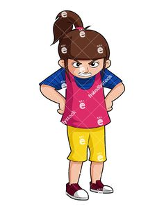 A Mad Little Girl With Her Hands On Hips, Wearing A Mean Expression: Royalty-free vector clipart of a mad little girl standing with her hands on hips, with a mean expression on her face. Somebody's in big trouble! Angry Little Girls, Angry Girl, Free Vector Clipart, Kids Vector, Hands On Hips, Girl Standing, Girls Hand, Mad, Royalty