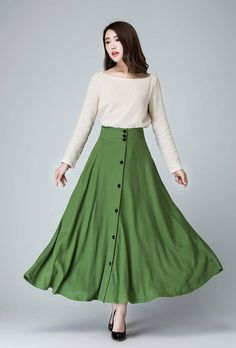 Green Linen maxi Skirt women long linen skirt with by xiaolizi
