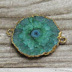 Green Geode Slice Druzy Crystal Gemstone with 24k by DUODUOJEWELRY