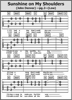 Guitar TAB Songs: Sunshine on My Shoulders Easy Guitar Songs, Guitar Chords For Songs, Guitar Lessons, Ukulele Chords, Music Lessons, Gitarrenakkorde Songs, Songs To Sing, Piano Music, Sheet Music