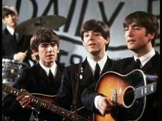 A group shot of the Beatles, Ringo Starr (in the background), George Harrison - Paul McCartney and John Lennon - pictured during a performance on Granada TV's Late Scene Extra television show filmed in Manchester, England on November Beatles Songs, Banda Beatles, Les Beatles, Beatles Band, Beatles Photos, Ringo Starr, George Harrison, Paul Mccartney, John Lennon