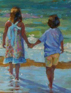 ... Alabama: IMPRESSIONISTIC FIGURATIVE PAINTING OF CHILDREN ON THE BEACH