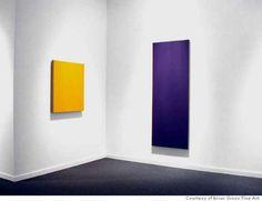 [Phil Sims] Yellow studio painting (left), Blue violet studio painting, 2004
