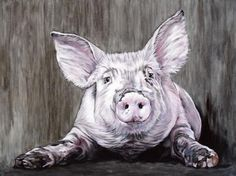 Pig by Clara Bastian Pig Drawing, Pig Art, Oil Water, Farm Animals, Sculptures, Drawings, Illustration, Artist, Prints