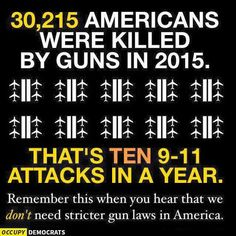 30,215 Americans were killed by guns in 2015. That's TEN 9/11 attacks in a year. Remember this when you hear that we DON'T need stricter gun laws in America.