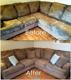 How to: Clean Microfiber Couches AND get the water spots out too ...