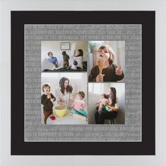 Overlap Photo Gallery of Four Framed Print, White, Contemporary, White, Black, Single piece, 16 x 16 inches
