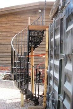 Antique cast iron gothic style spiral staircase