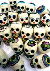 Ceramic sugar skull day of the dead bead