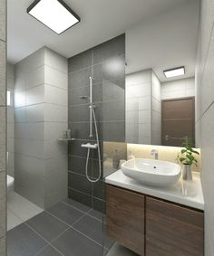 Bathroom Ideas Note: standing shower and sink area