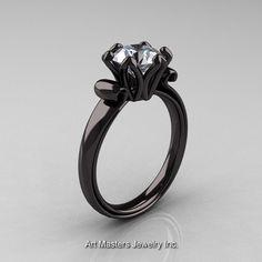 Antique 14K Black Gold 1.5 CT Cubic Zirconia Engagement Ring AR127-14KBGCZ