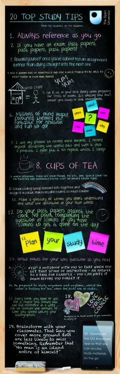 20 Top Study Tips - from OU students, to OU students (would love to create a fun flier like this that's specific to CC):