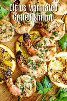This Citrus Marinated Grilled Shrimp is an easy grilled shrimp kabob recipe marinated in fresh citrus and herbs, and grilled on an outdoor grill for a smokey flavor. Easy Grilled Shrimp Recipes, Marinated Grilled Shrimp, Shrimp Marinade, Grilling Shrimp, Real Food Recipes, Diet Recipes, Cooking Recipes, Recipies, Shrimp Kabobs
