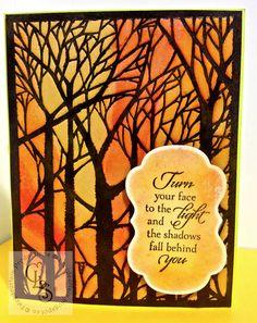 Tweedcurtain Productions: Dreamweaver Stencil Autumnal Card.  Dreamweaver Metal Bare Trees Stencil
