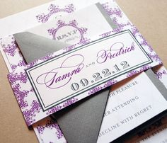 Purple Wedding Invitations - Purple and Gray, Belly Band, Purple, Gray, Plum. $4.99, via Etsy.