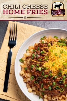 Delight your family and friends with Southern home fries smothered in chili and topped with melted cheese. This easy Chili Cheese Home Fries recipe is awesome! Best Beef Recipes, Ground Beef Recipes Easy, Chili Recipes, Diced Beef Recipes, Potato Recipes, Delicious Recipes, Beef Dishes, Potato Dishes, Beef Appetizers