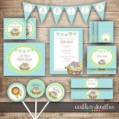 Boy's Baptism PARTY PACKAGE / Noah's Ark / Baby Boy's Christening Turquoise, Blue & Green Party Kit - Printable on Etsy, $35.00