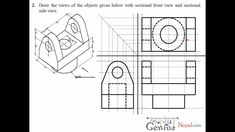 Engineering Drawing Tutorials / Orthographic Drawing with Sectional Fron...