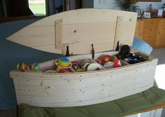 Unfinished 4 Foot Wooden Boat Toy Box Nautical Chest Hand Crafted Bookshelf…